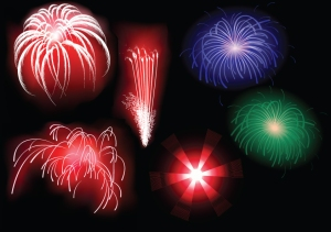 Vector brilliant fireworks (1)
